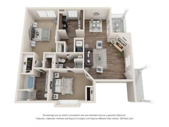 Milton Two Bedroom Two Bathroom Floor Plan at Fairlane Woods Apartments, Dearborn, MI