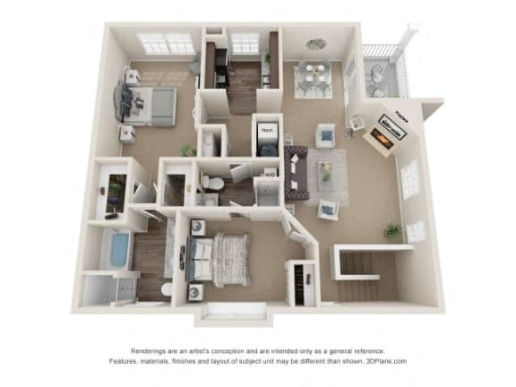Milton Two Bedroom Two Bath Floor Plan at Fairlane Woods Apartments, Dearborn, 48126