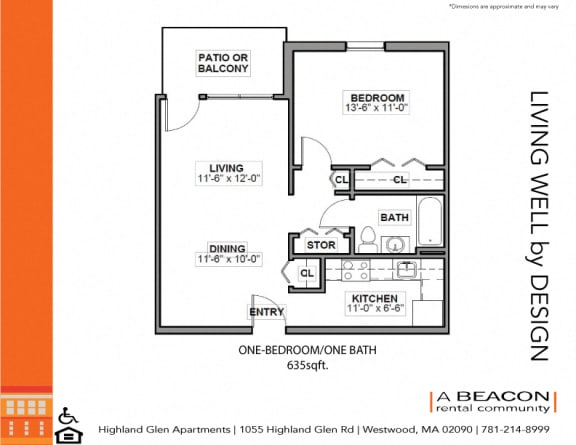 One bedroom at Highland Glen Apartments in Westwood MA