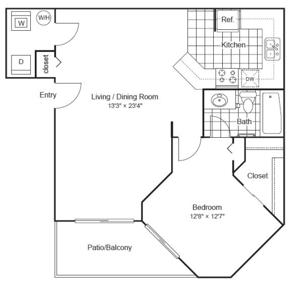 1 Bedroom 1 Bathroom Floor Plan at Scottsdale Horizon Apartments, Scottsdale, AZ