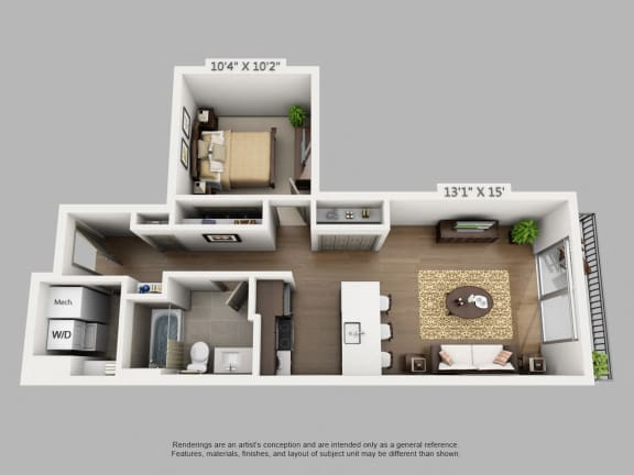 Floor Plan  1 Bed 1 Bath Adventure Floor Plan at Alara Union Station, Colorado, 80202