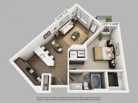 Floor Plan  1 Bed 1 Bath Arrive Floor Plan at ALARA Union Station Apartment Homes, Denver, CO