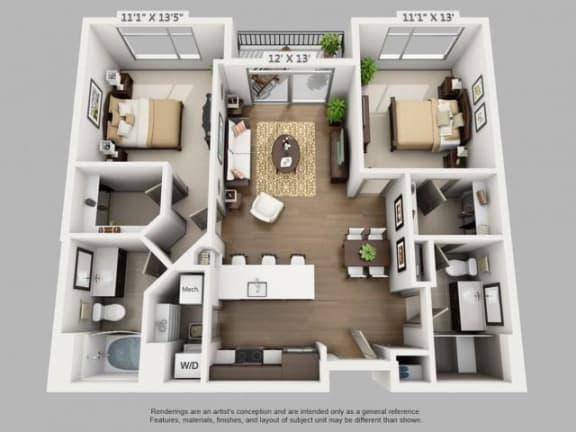 Floor Plan  2 Bed 2 Bath Travel Floor Plan at ALARA Union Station Apartment Homes, Denver, 80202