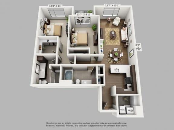 Floor Plan  2 Bed 2 Bath Wander Floor Plan at ALARA Union Station Apartment Homes, California, 80202