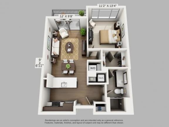 Floor Plan  1 Bed 1 Bath Wayfare Floor Plan at ALARA Union Station Apartment Homes, CO, 80202