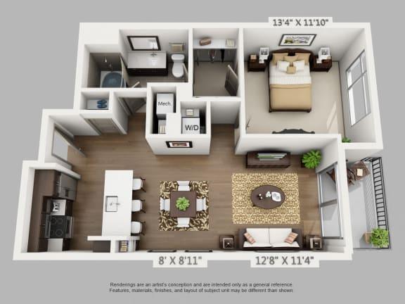 Floor Plan  Drift 1 Bedroom at Alara Union Station, Colorado