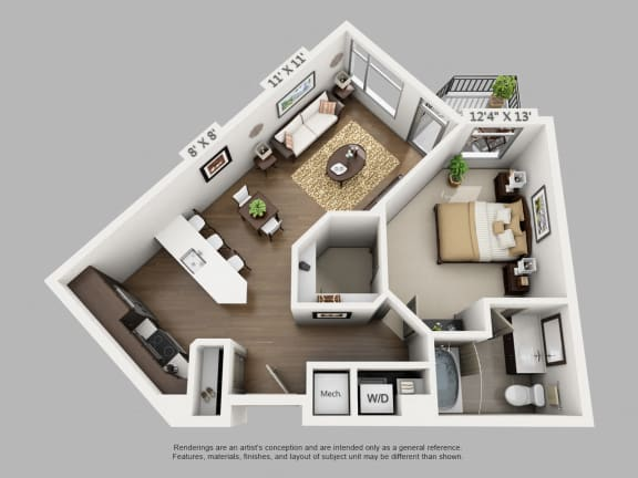 Floor Plan  Escape 1 Bedroom at Alara Union Station, Denver, CO, 80202