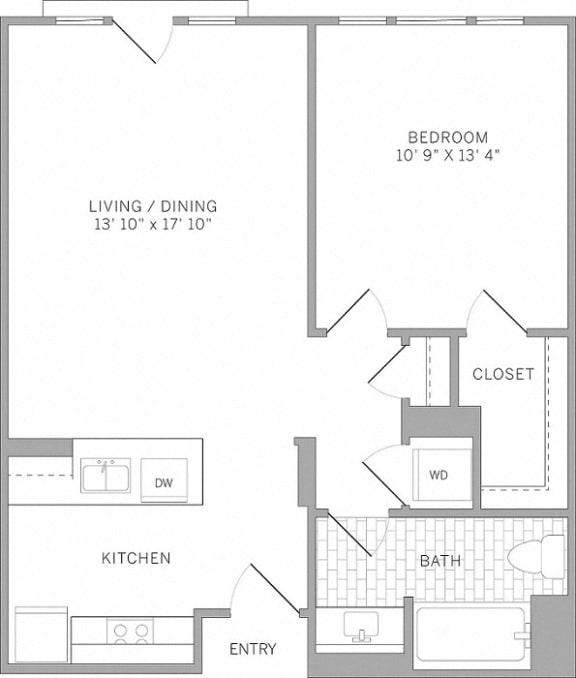 A1 Floor Plan at AVE Emeryville at Bay Street, Emeryville, California