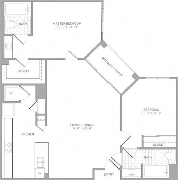 B2 Floor Plan at AVE Emeryville at Bay Street, Emeryville, 94608