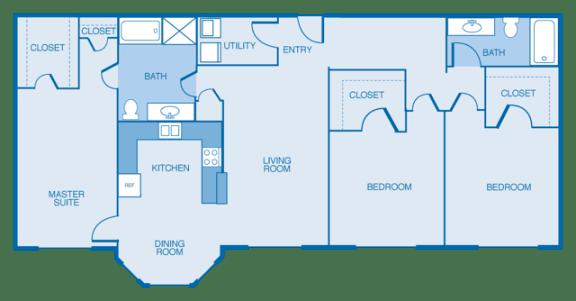 East-Haven Floor Plan at Estates at Hollister Apartments, Houston, Texas