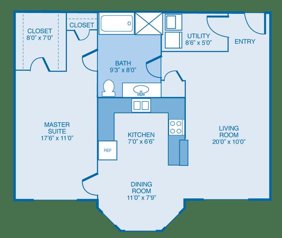 North-Haven Floor Plan at Estates at Hollister Apartments, Houston, TX
