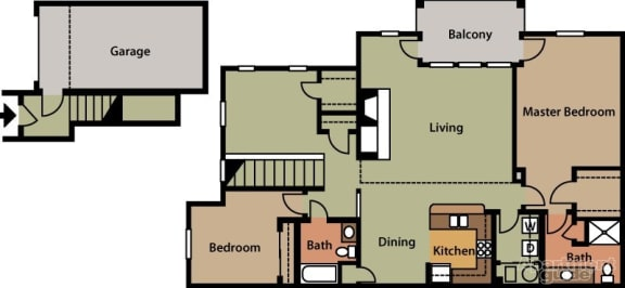 Floor Plan  Two Bedroom with Den