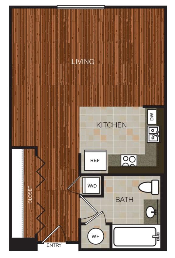Studio 6 Floor Plan at Berkshire Riverview, Austin