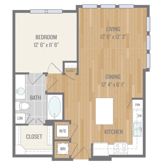 One-Bedroom Floor Plan at Berkshire Auburn, Texas, 75248