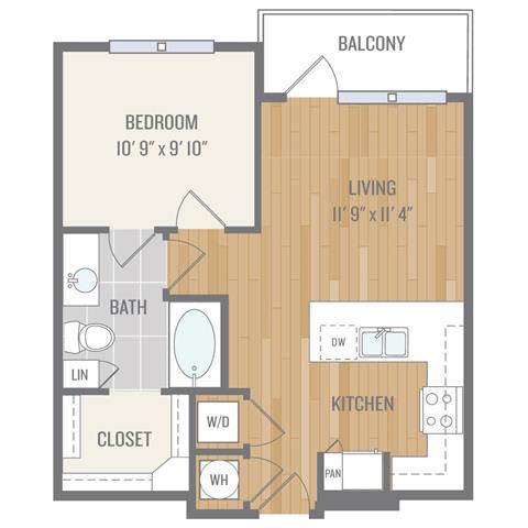 One-Bedroom Floor Plan at Berkshire Auburn, Dallas, TX, 75248
