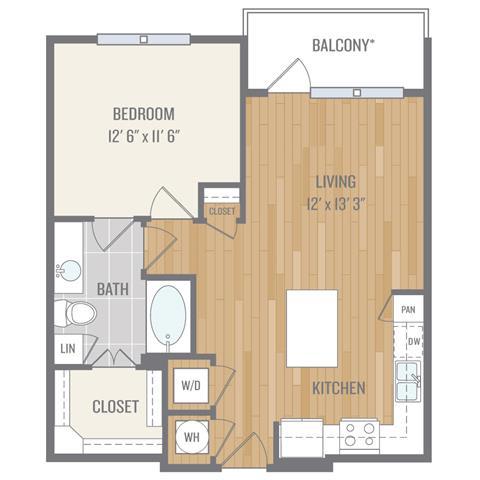 One-Bedroom Floor Plan at Berkshire Auburn, Dallas, 75248