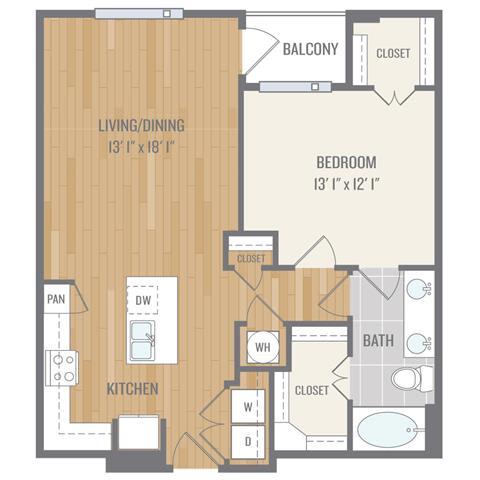 One-Bedroom Floor Plan at Berkshire Auburn, Dallas