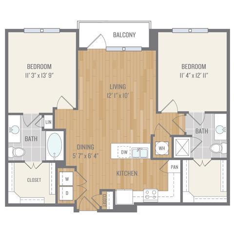 Two-Bedroom Floor Plan at Berkshire Auburn, Dallas, TX, 75248