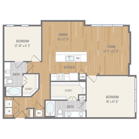 Two-Bedroom Floor Plan at Berkshire Auburn, Dallas, TX