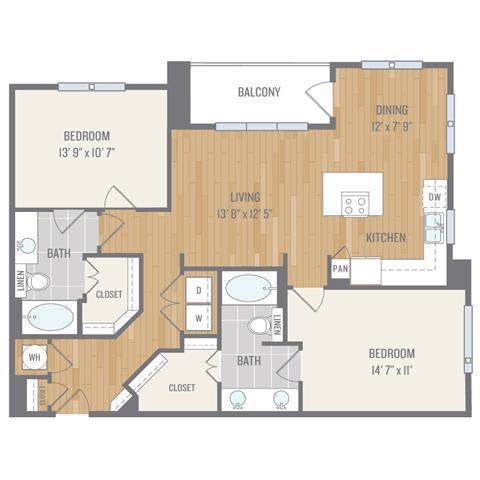 Two-Bedroom Floor Plan at Berkshire Auburn, Dallas, 75248