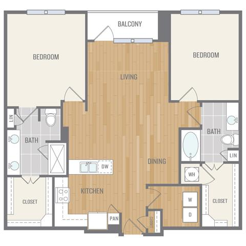 Two-Bedroom Floor Plan at Berkshire Auburn, Dallas