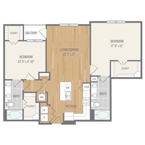 Two-Bedroom Floor Plan at Berkshire Auburn, Texas