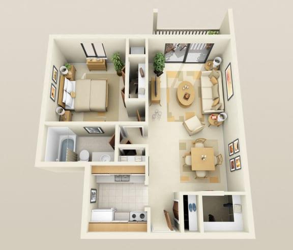 Floor Plan  One Bedroom One Bath, 760 sq. ft. Floor Plan at Dover Hills Apartments in Kalamazoo, MI