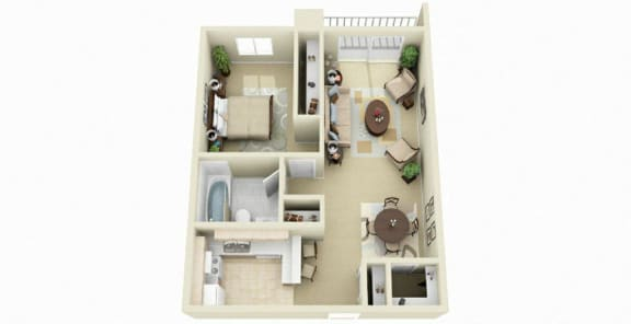 Floor Plan  One Bedroom One Bath, 825 sq. ft. Floor Plan at Dover Hills Apartments in Kalamazoo, MI