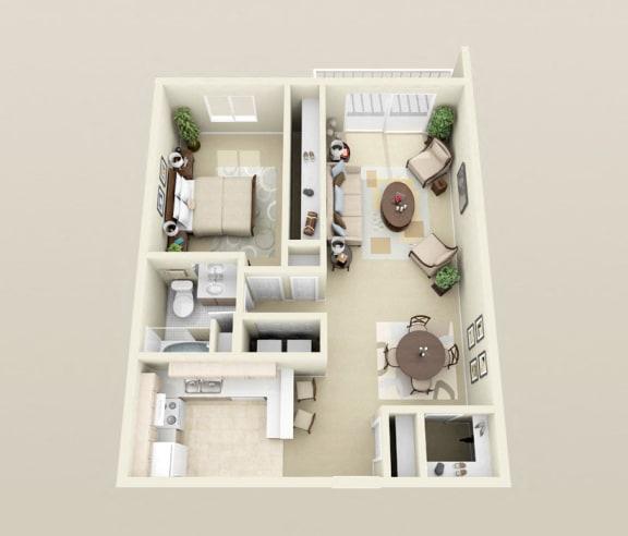Floor Plan  One Bedroom One Bath, Washer/Dryer, Breakfast Bar, 900 sq. ft. Floor Plan at Dover Hills Apartments in Kalamazoo, MI