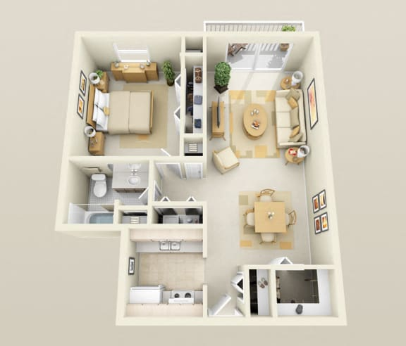 Floor Plan  One Bedroom One Bath, Washer/Dryer, Galley 850 sq. ft. Floor Plan at Dover Hills Apartments in Kalamazoo, Michigan
