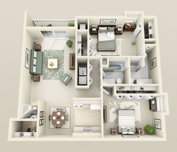Floor Plan  Two Bedrooms Two Baths, Washer/Dryer, 1150 sq. ft. Floor Plan at Dover Hills Apartments in Kalamazoo, MI