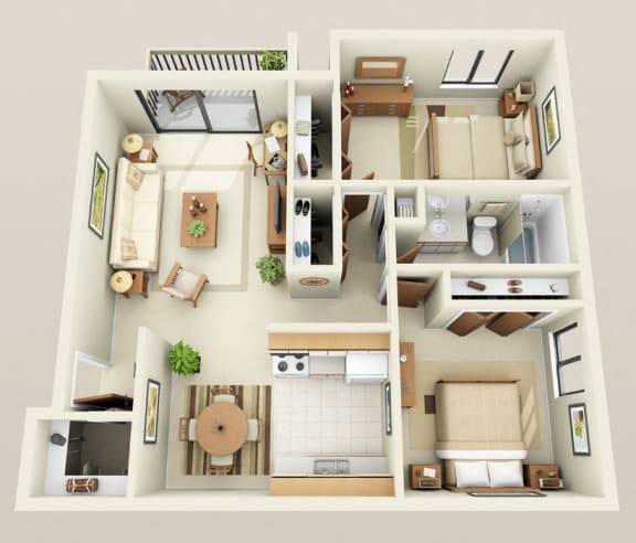 Floor Plan  Two Bedroom One Bath Twin Floorplan at Westwood Village Apartments in Michigan