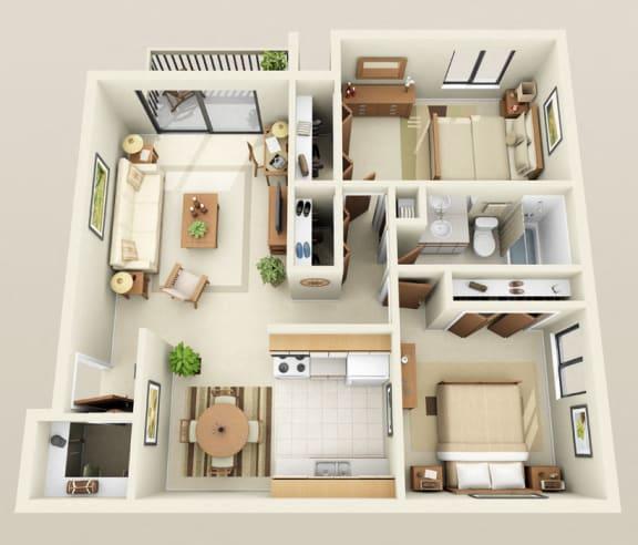 Floor Plan  Two Bedroom One Bath Barrier Free Floorplan at Westwood Village Apartments in Westland, MI