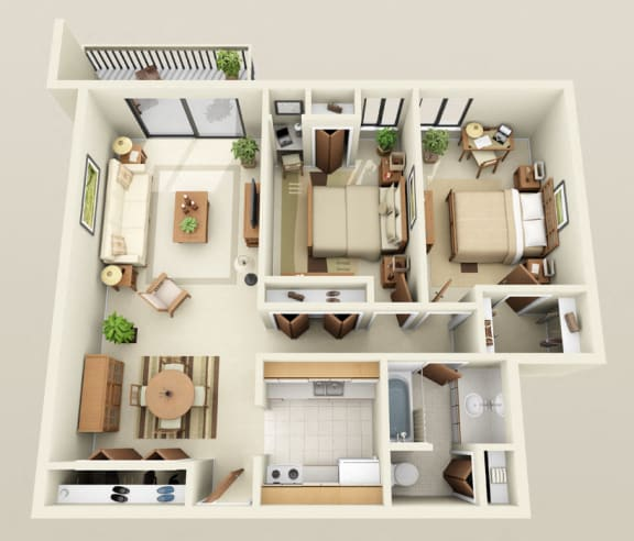 Floor Plan  Two Bedroom One Bath Double Heat Included Floorplan at Westwood Village Apartments in Michigan, 48185