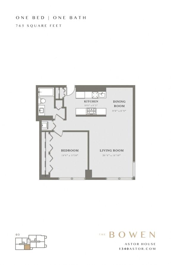 Astor House Apartments Floor Plan - Bowen