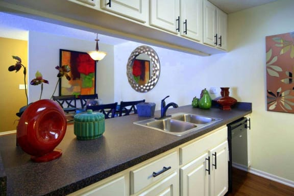 Coral Club kitchen with white cabinets and black counter tops