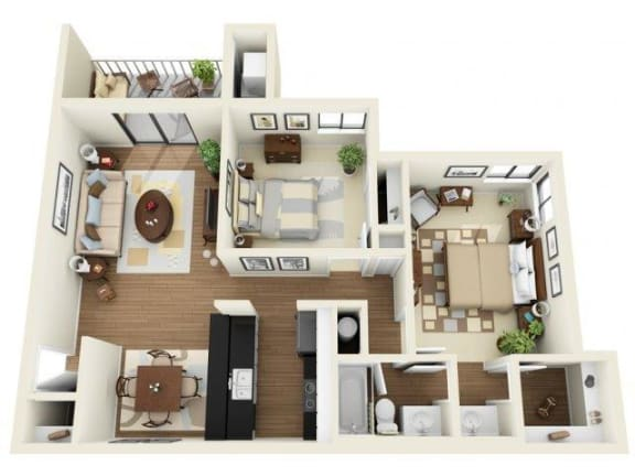 Coral Club 2 bedrooms 1044 sq ft floor plan with kitchen, dining/living, 1 bathroom, closets, balcony/patio and storage