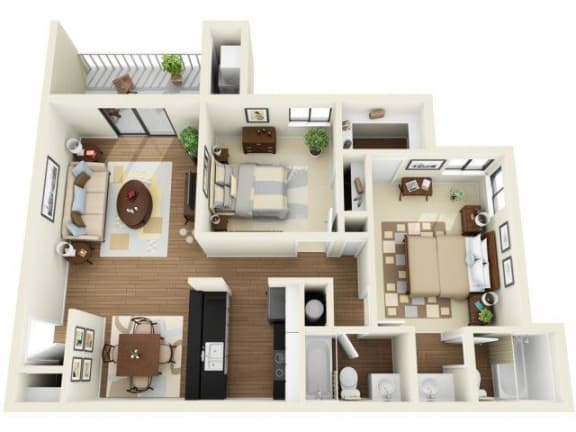 Coral Club 2 bedroom 1076 sq ft floor plan with kitchen, dining/living, 2 bathrooms, closets, balcony/patio and storage