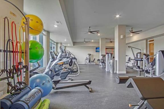 Gym with fitness equipment