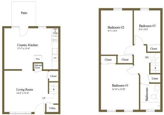 3 bedroom 1 bathroom floor plan at Orchards at Severn Townhomes in Severn, MD