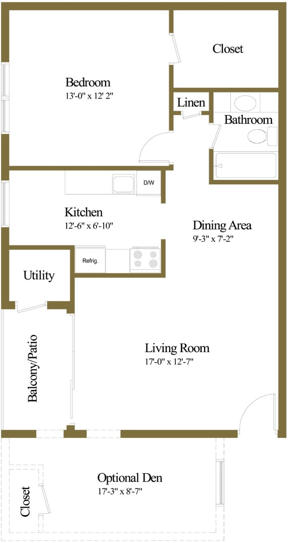 1 bedroom 1 bathroom with den floor plan at The Village of Pine Run Apartments in Windsor Mill, MD