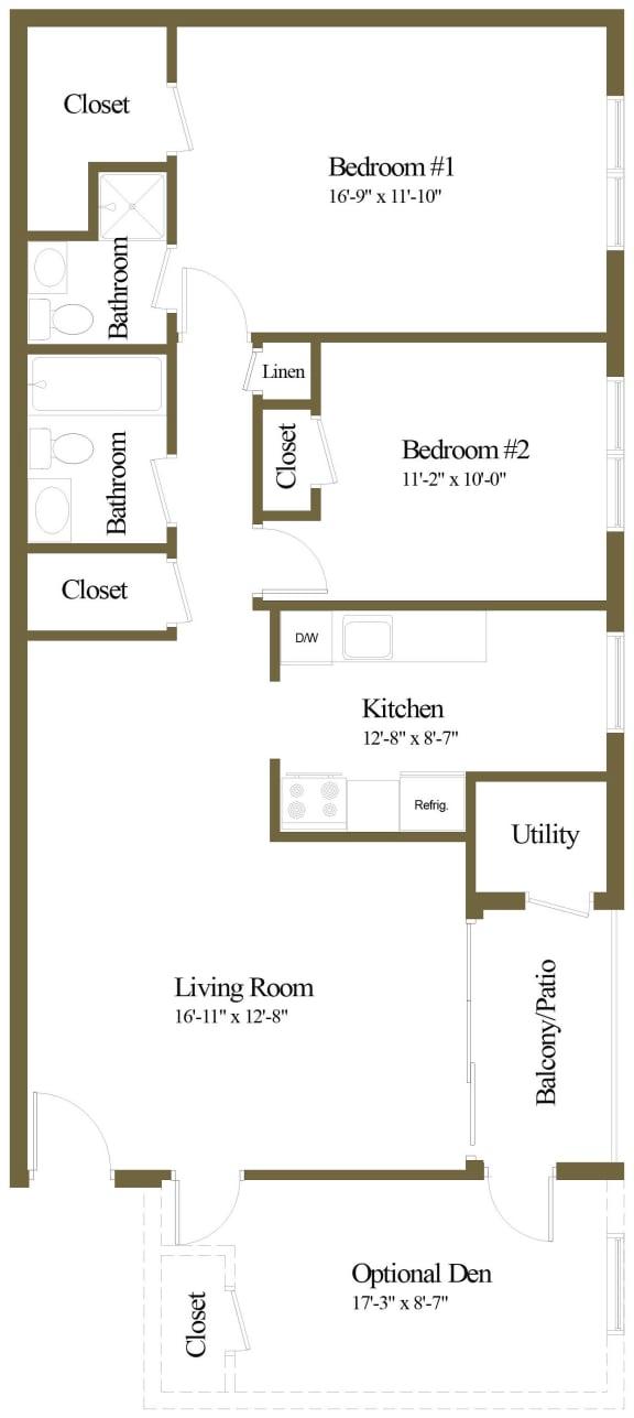 2 bedroom 2 bathroom floor plan at The Village of Pine Run Apartments in Windsor Mill, MD