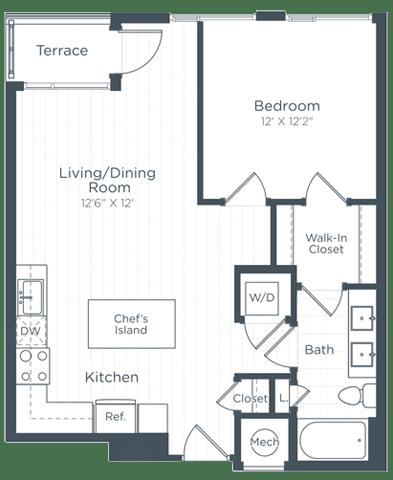 A7 Floor Plan at Highgate at the Mile, McLean, VA