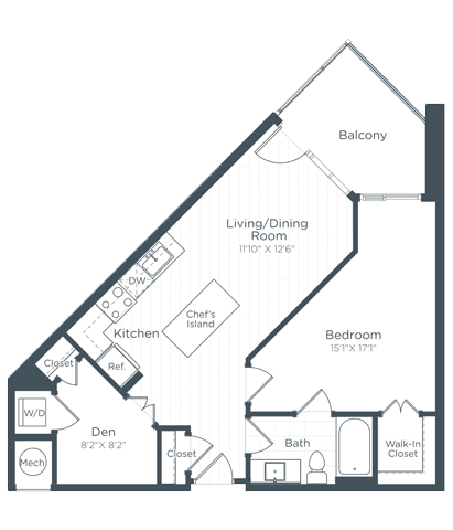 AD1 Floor Plan at Highgate at the Mile, McLean, 22102