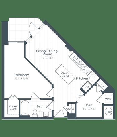AD1 Floor Plan at Highgate at the Mile, McLean, Virginia