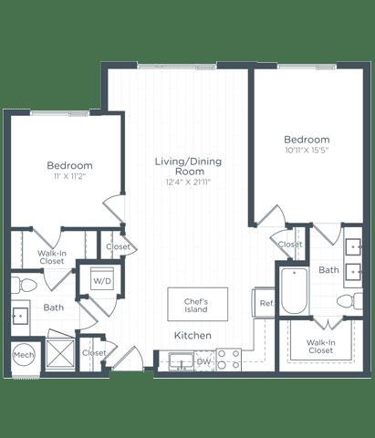B3 Floor Plan at Highgate at the Mile, McLean, VA, 22102