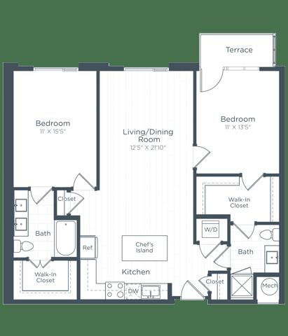 B4 Floor Plan at Highgate at the Mile, McLean, VA