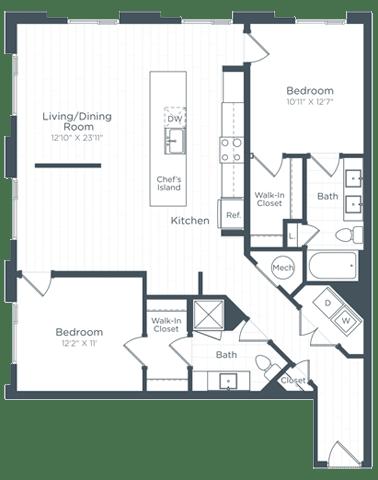 B7 Floor Plan at Highgate at the Mile, McLean