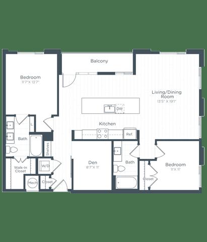 BD3 Floor Plan at Highgate at the Mile, McLean, Virginia