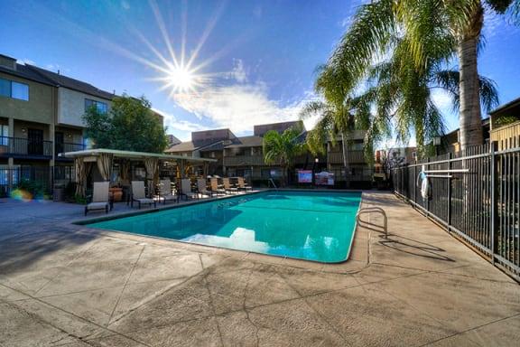 Lounge Swimming Pool With Cabana at Highlander Park Apts, Riverside, CA, 92507